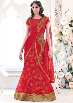 Panash India - Red Lycra And Net Lehenga Saree With Blouse