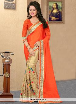 Fashion Webz - EMBROIDERED WORK FAUX CHIFFON HALF N HALF SAREE