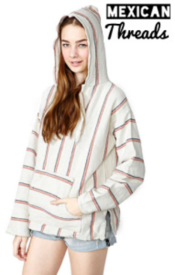 Mexican Threads - White Color Stripes Baja