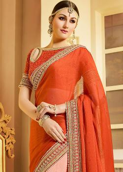 PanashIndia - Orange & Peach Chiffon Net Saree With Blouse