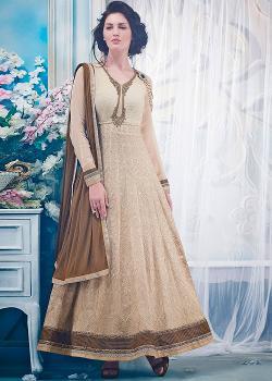 Panash India - Beige Chiffon Anarkali Salwar Kameez