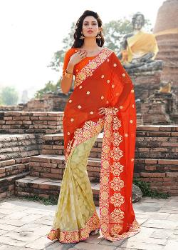 Panash India - Orange & Beige Chiffon and Georgette Brasso Saree With Blouse