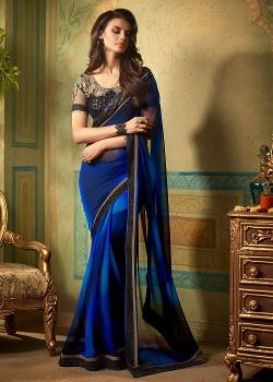 Panash India -  Shaded Blue Georgette Saree With Blouse