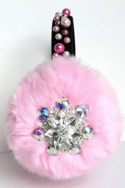 April Delouvre - Jeweled Bling Pink earmuffs by April Delouvre