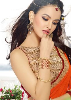 Panash India - Shaded Orange And Maroon Georgette Saree With Blouse