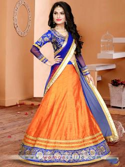 Womansvilla - Amazing Orange Colored Silk Designer Lehenga Choli