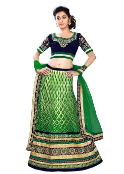 PanashIndia - Cream And Green Net Lehenga Choli With Dupatta