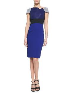 Roland Mouret - Colorblock Fold-Pleated Lepas Dress, White/Blue/Black