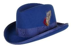 GODFATHER  HAT - GODFATHER NEW MENS Royal Blue 100% Wool Homburg Dress Hat 4201