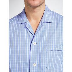 Derek Rose - Gingham Check Woven Cotton Pyjamas, Blue
