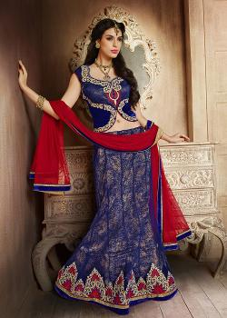 Panash India - Blue Net Lehenga Choli With Dupatta