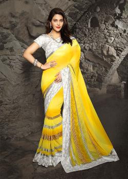 Panash India - Shaded Yellow Chiffon Saree With Blouse
