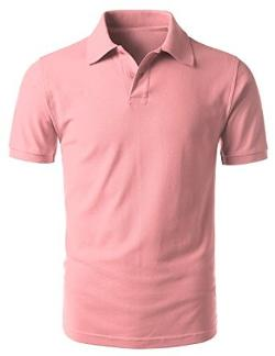 URBANCREWS - Mens Hipster Hip Hop Short Sleeve Polo T-shirts PINK