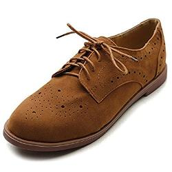Ollio - Lace Up Wing Tip Casual Shoe Dress Low Heel Oxford