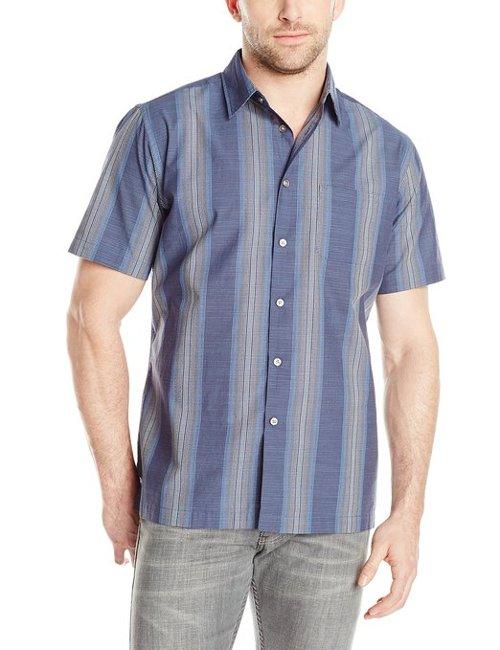 Vince vaughn van heusen men 39 s short sleeve stripe faux for Van heusen men s short sleeve dress shirts