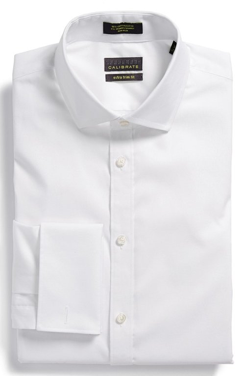Kevin costner calibrate non iron extra trim fit stretch for Extra trim fit dress shirt