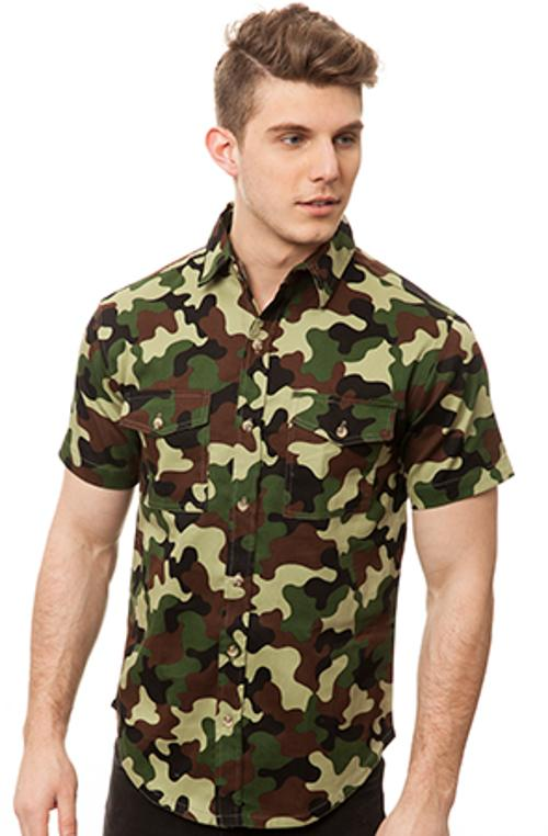 Cyrus Spencer Motivation Swamp Camo Short Sleeve Button Up
